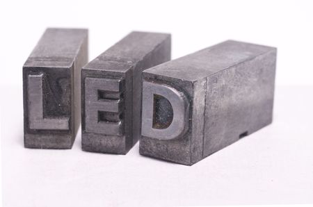 LED spelled in lead printing letter font Stock Photo - 5860848