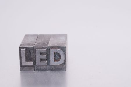 LED spelled in lead printing letter font Stock Photo - 5860837