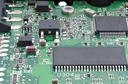 close uo: Close uo of dusty circuit board