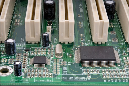 pci card: Close up of dusty partial computer mainboard