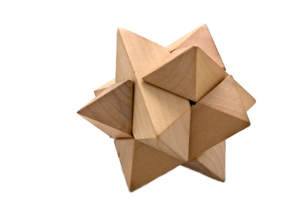 Wooden 3D puzzle on white Stock Photo - 10906072