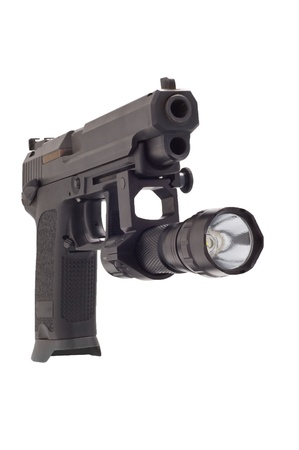 automatic pistol: Looking down the barrel of a large 9mm automatic pistol with flashlight