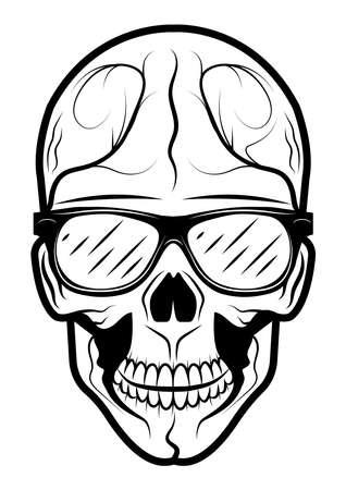 Human skull in stylish glasses on a white background. Design element for label, emblem, badge, poster.
