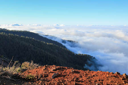 View from the LP-4 over the clouds to Santo Domingos