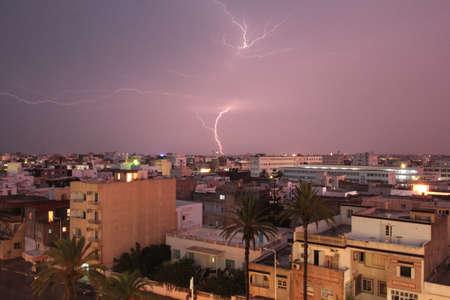 Thunderstorm with lightning over mahdia tunisia