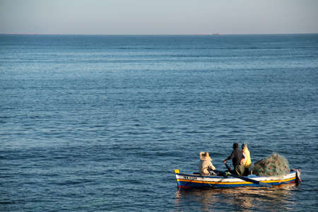 fishing boat on the sea in front of mahdia tunisia