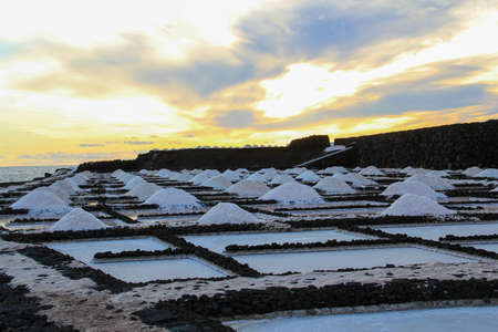salt mounts by fuencaliente in the evening with a sundown