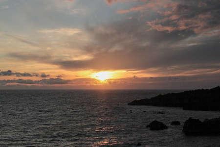 sundown at the atlantic in the south of la palma in fuencaliente 版權商用圖片