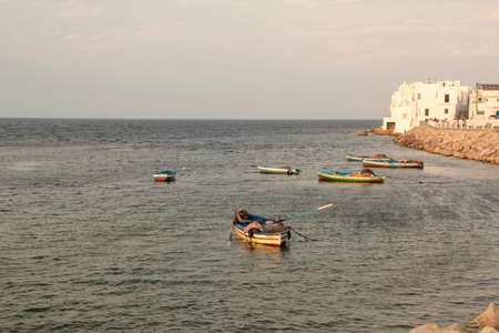 some fisching boats in front of the city mahdia tunisia 版權商用圖片