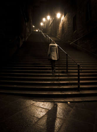 edinburgh: Edinburgh night stairs Stock Photo