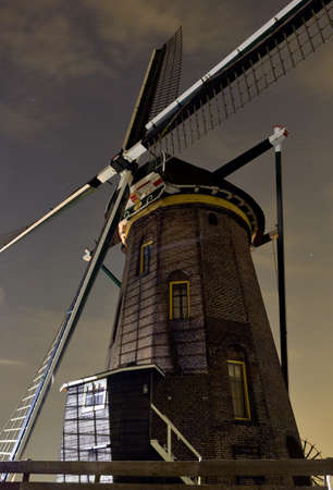 Dutch mill at night photo