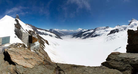 aletsch: Panorama of the Aletsch glacier on top of the Jungfrau Stock Photo