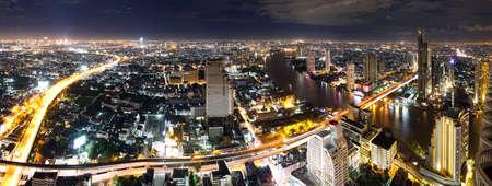 panorama city panorama: Bangkok horizonte de la noche