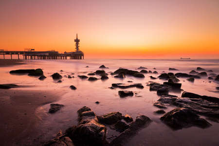 Smooth colored pink sunset at Scheveningen, the Netherlands  HDR photo