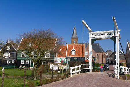wilhelmina: The Wilhelmina bridge in the traditional town of Marken near Amsterdam in the Netherlands
