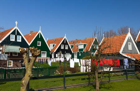 marken: Traditional houses in the touristic town of Marken in the Netherlands