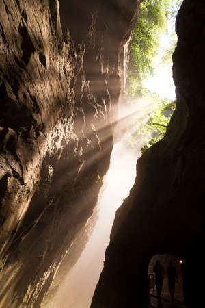 Beautiful light in the Aare-gorge  Aareschlucht  in Switzerland photo