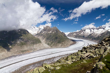 Beautiful landscape of the majestic Aletsch glacier in the european alps in Switzerland photo