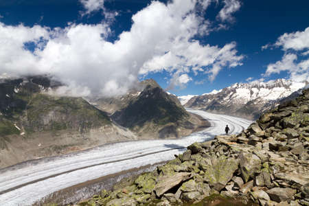 The landscape of the massive Aletsch glacier dwarfing a lonely tourist Stock Photo - 15373939