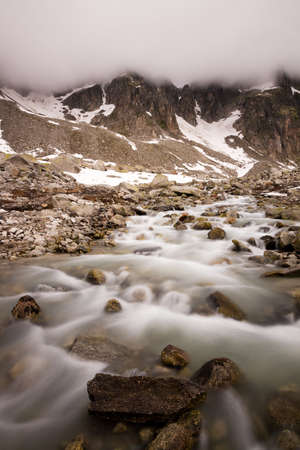 Long exposure mountain river on a cloudy day photo