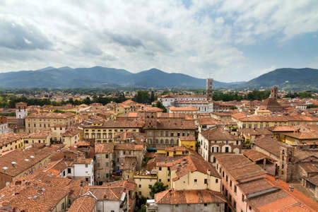 View from the Guinigi tower over the city of Lucca in Tuscany, Italy   photo