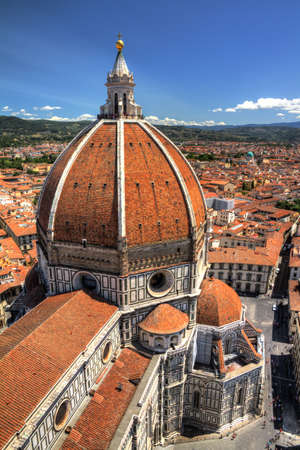 View on the Florence Cathedral from the top of the Bell tower next to it in Florence, Italy