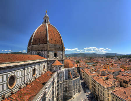 duomo: Wide angle HDR view on the Florence Cathedral from the Bell tower next to it, in Florence, Italy