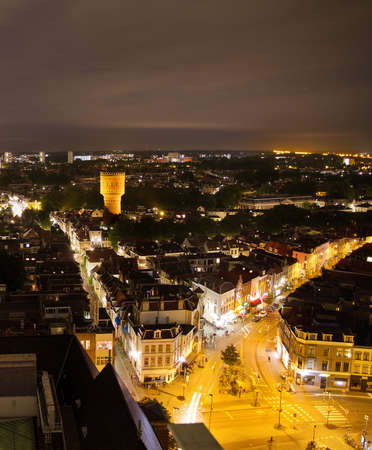 the lumen: View over Utrecht at night looking towards the water tower