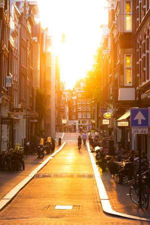 Summer sunset in the nine little streets in Amsterdam, the Netherlands