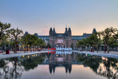 Beautiful view on the national state museum early in the morning in Amsterdam, the Netherlands