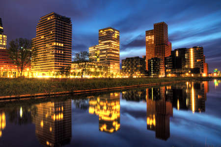 Beautiful early morning view on the office buildings in the south of Amsterdam, the Netherlands, HDR Stock Photo