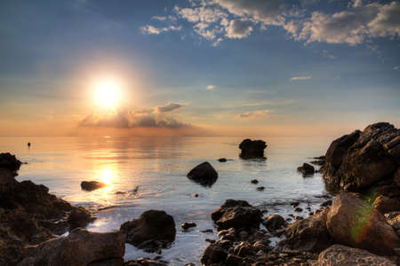 Beautiful sunset at the shores of Pag, Croatia  Stock Photo