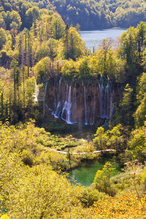 Beautiful aerial view on a waterfall in Plitvice national park, Croatia photo