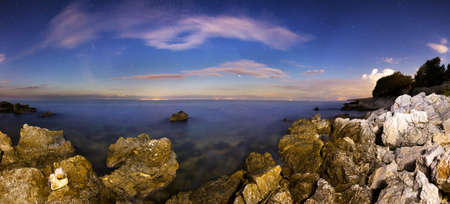 Nightscape 180 degree panorama at the Croatian shores of Pag photo