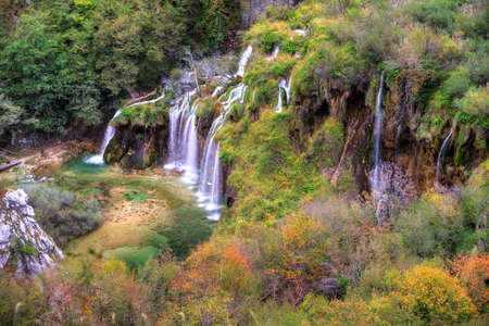 Stunning autumn view on the waterfalls  in Plitvice national park, an UNESCO world heritage site, in Croatia  HDR photo