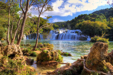 Waterfalls in Krka national park in Croatia, which is a local paradise  photo