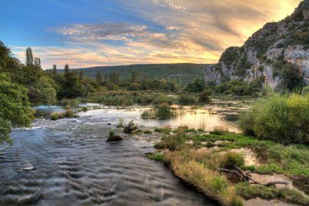 Roski Slap and the river Krka in Croatia photo