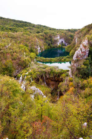 karst: Autumn view over the blue lakes and waterfalls in Plitvice national park, in Croatia