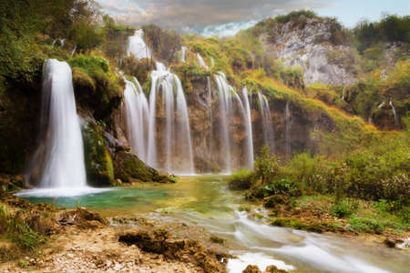 Stunning autumn view on the waterfalls  in Plitvice national park, in Croatia Stock Photo - 17963807