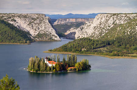 The Visovac Monastery  Croatian  Samostan Visovac  on the island of Visovac in the Krka National Park, Croatia