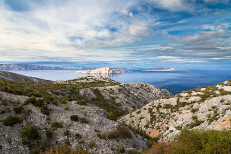 Beautiful seascape view towards the island of Pag in Croatia