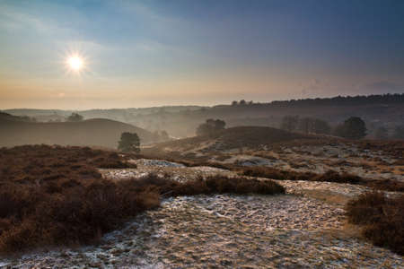 posbank: Sunrise at the Posbank in the Netherlands on a cold winter day Stock Photo