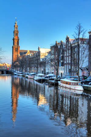 westerkerk: Beautiful early morning winter view on the Westerkerk and the Prinsengracht, one of the  city canals of Amsterdam, The Netherlands  HDR
