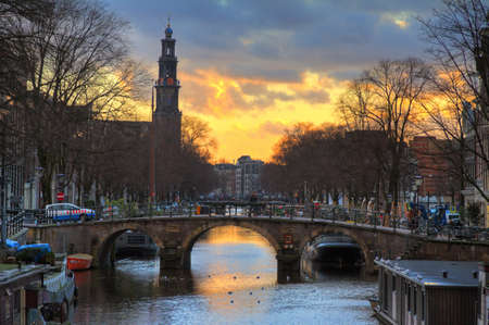 westerkerk: Beautiful view on the Westerkerk church in Amsterdam, the Netherlands, at sunset in winter  HDR