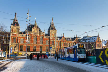 Winter view on the renovated Amsterdam Central Station in the Netherlands in January 2013