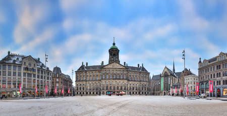 dam square: Beautiful HDR panorama of the Royal palace on the Dam square in Amsterdam, the Netherlands Editorial