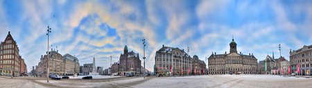 Beautiful 360 degree HDR panorama of the Dam square in Amsterdam, the Netherlands