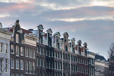 Town houses in Amsterdam, the Netherlands, on a winter morning photo