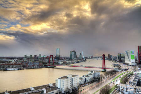 maas: Beautiful sunset view on the bridges over the river Maas  Meuse  in Rotterdam, The Netherlands Editorial