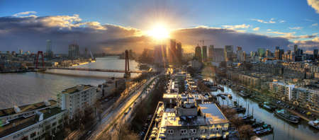 meuse: Beautiful sunset panorama of the city of Rotterdam, the Netherlands, with the river Meuse  HDR
